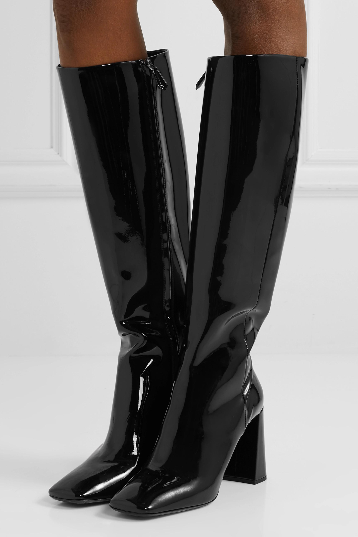 Prada 85 patent-leather knee boots