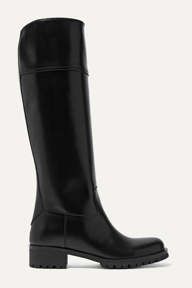 40 Kniehohe Stiefel Aus Leder by Prada