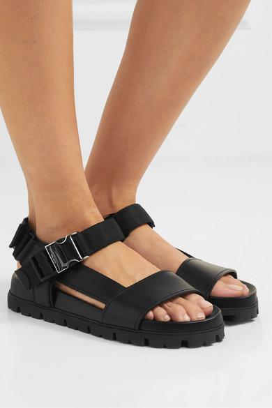 Prada | <b>Buckle</b>-detailed leather sandals | NET-A-PORTER.COM