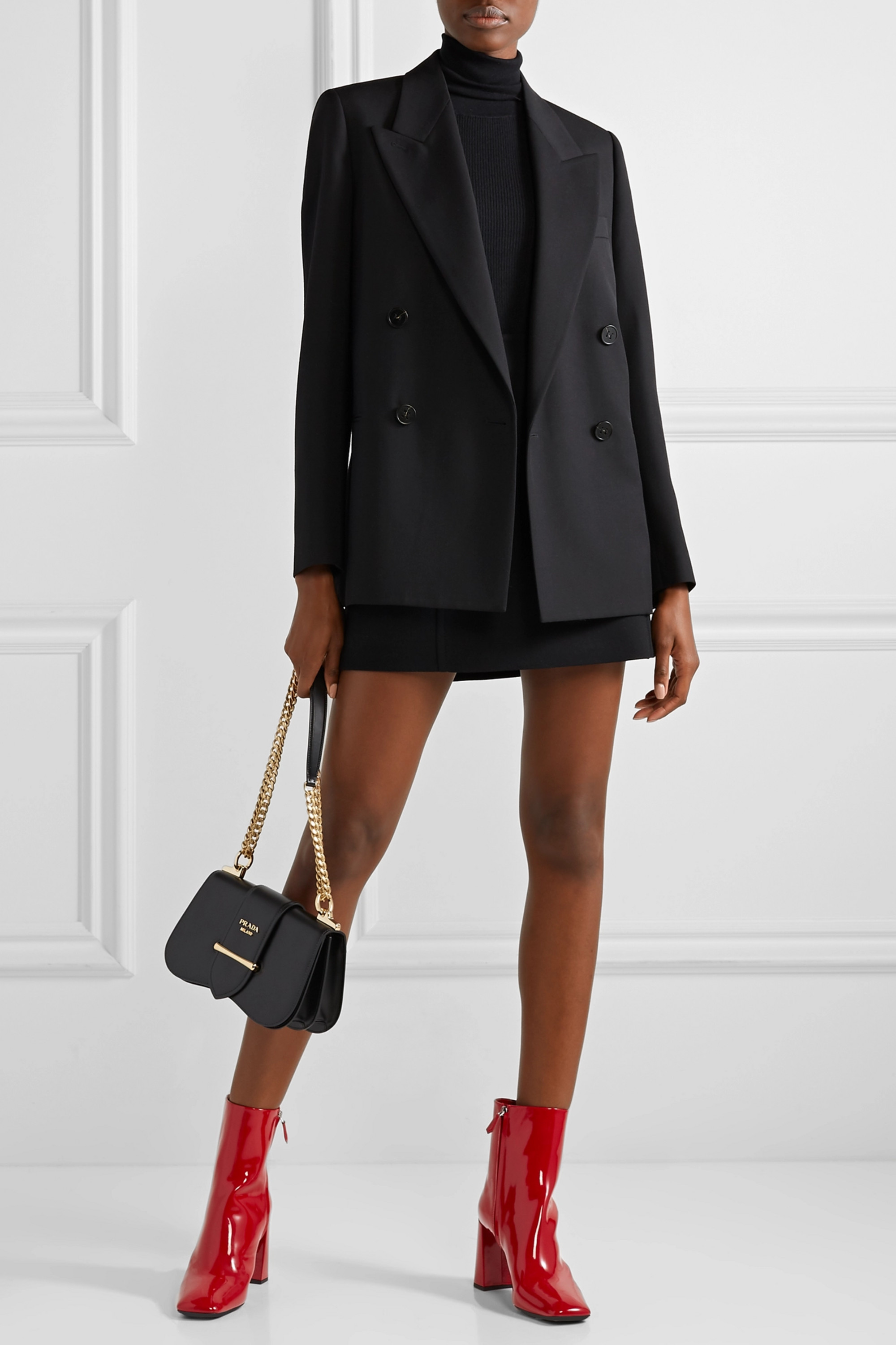 Prada 85 patent-leather ankle boots