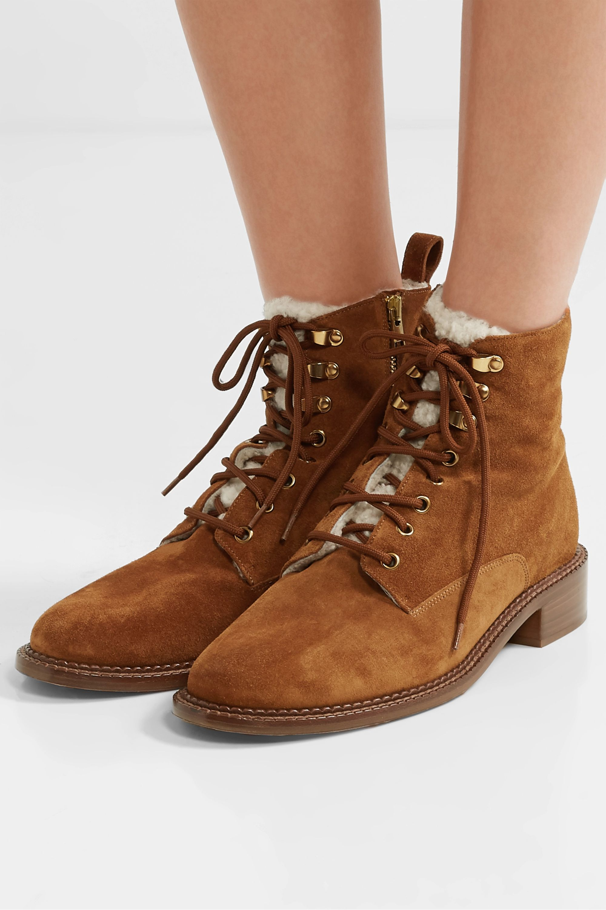 Tan Cabria-3 shearling-trimmed suede