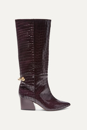 Rowan glossed croc-effect leather knee boots