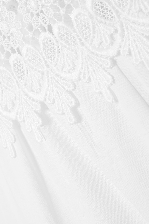 White Sophia Crocheted Lace-paneled Cotton-blend Voile Maxi Dress | Charo Ruiz