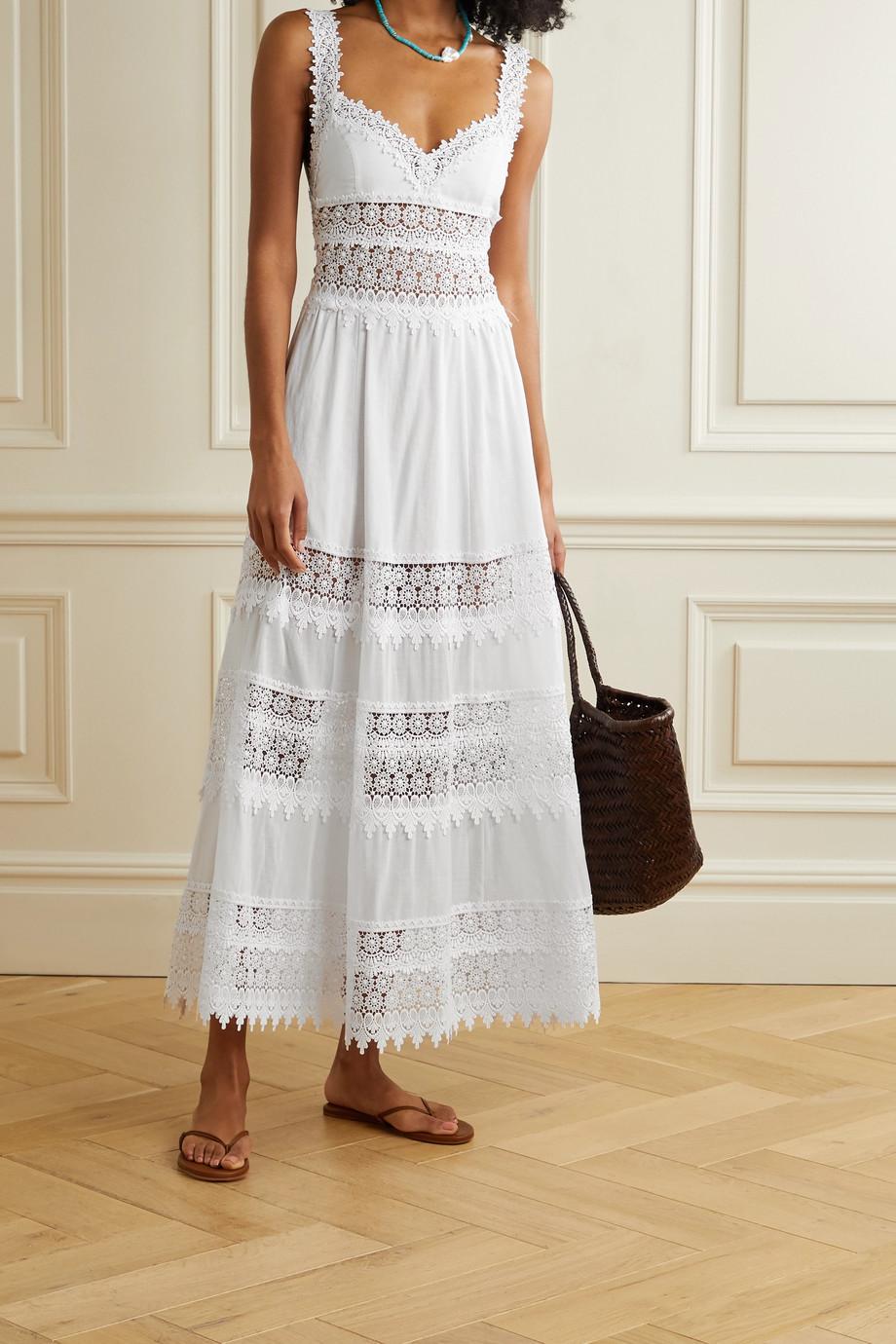 Charo Ruiz Sophia crocheted lace-paneled cotton-blend voile maxi dress