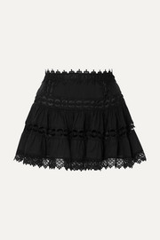Charo Ruiz Greta crocheted lace-paneled cotton-blend mini skirt