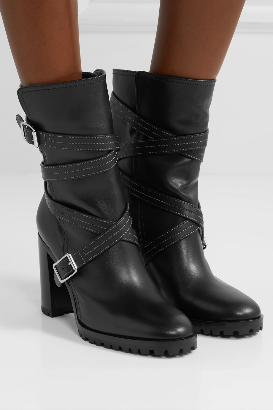 Gianvito Rossi 90 buckled leather ankle boots