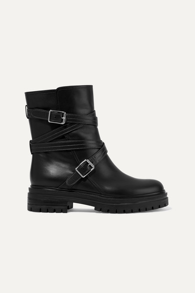 81eec5b7c26 Buckled Leather Ankle Boots in Black