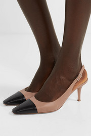 Lucy 70 two-tone leather slingback pumps