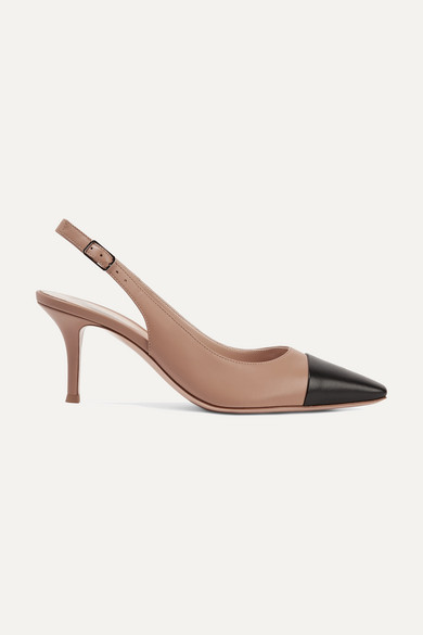Gianvito Rossi Lucy 70 Two-Tone Leather Slingback Pumps In Taupe