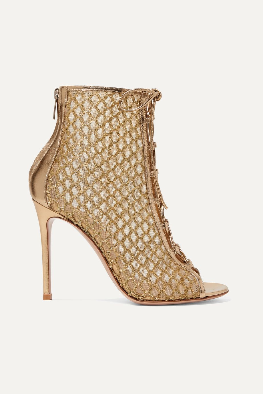 Gianvito Rossi 105 lace-up Lurex, mesh and metallic leather ankle boots
