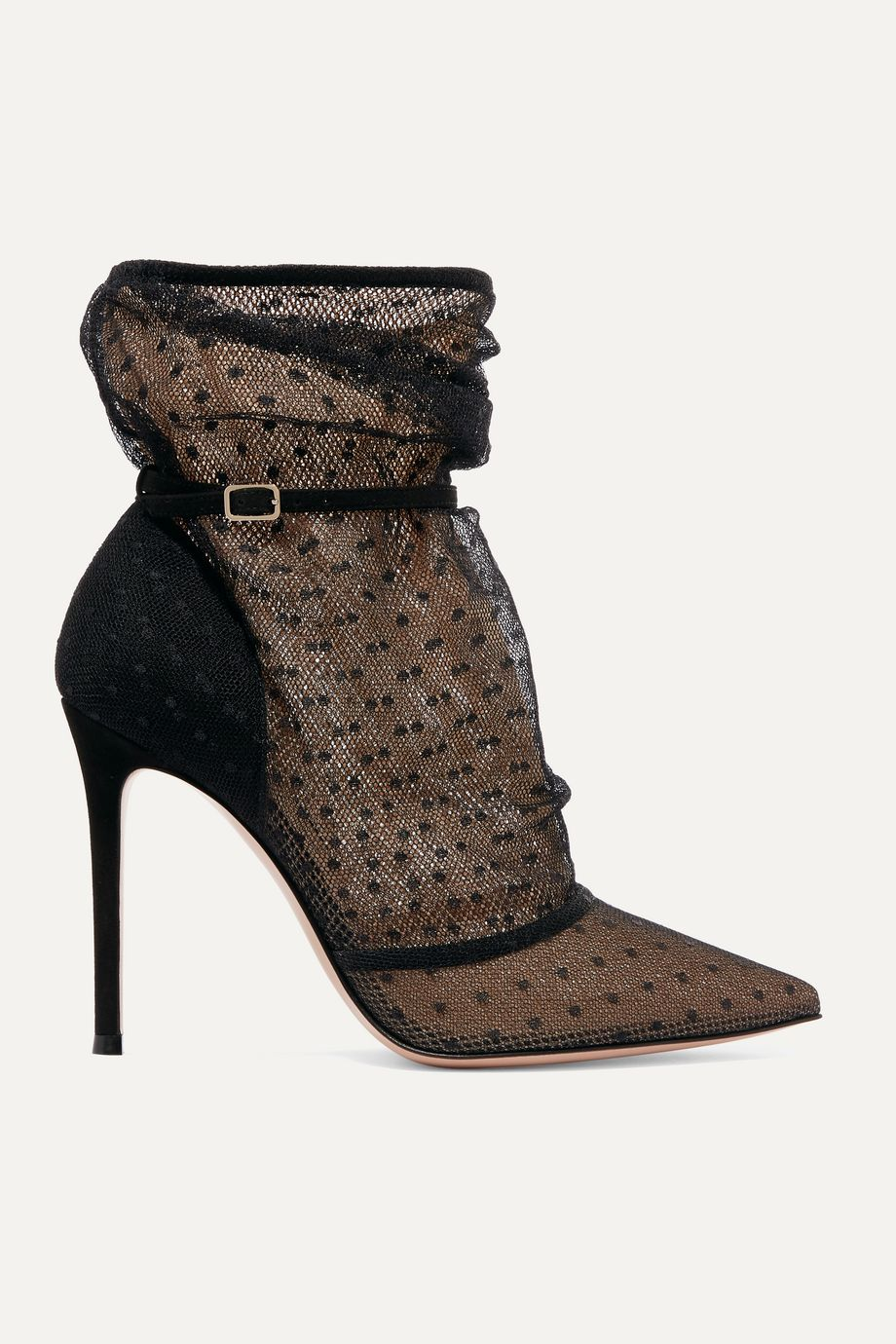 Gianvito Rossi 105 polka-dot tulle and suede ankle boots