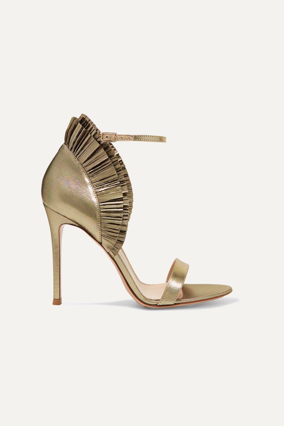 Gianvito Rossi 105 ruffled lamé sandals