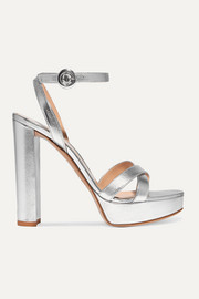 Gianvito Rossi Poppy 100 metallic leather platform sandals