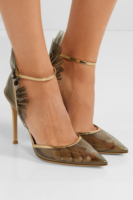 105 metallic leather-trimmed ruffled PVC pumps