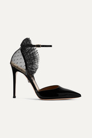 Gianvito Rossi 105 ruffled point d'esprit tulle and patent-leather pumps