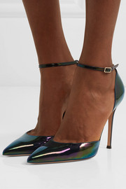 105 iridescent patent-leather pumps