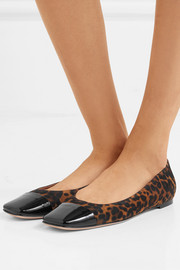 Leopard-print suede and patent-leather ballet flats