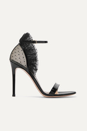 Gianvito Rossi 105 ruffled point d'esprit and patent-leather sandals