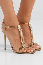 105 crystal-embellished metallic leather sandals