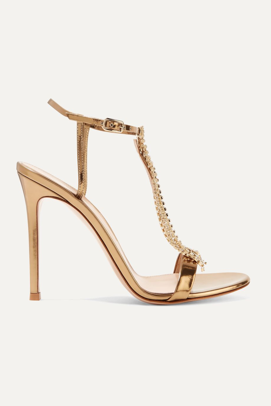 Gianvito Rossi 105 crystal-embellished metallic leather sandals