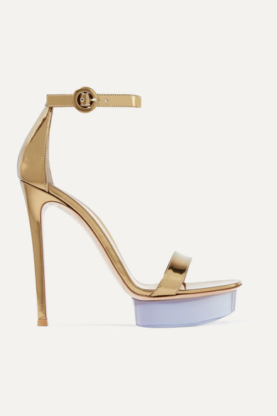 6bba82c8b57 Godiva 135 Metallic Leather And Perspex Platform Sandals in Gold