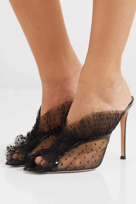 105 ruffled point d'esprit and patent-leather mules