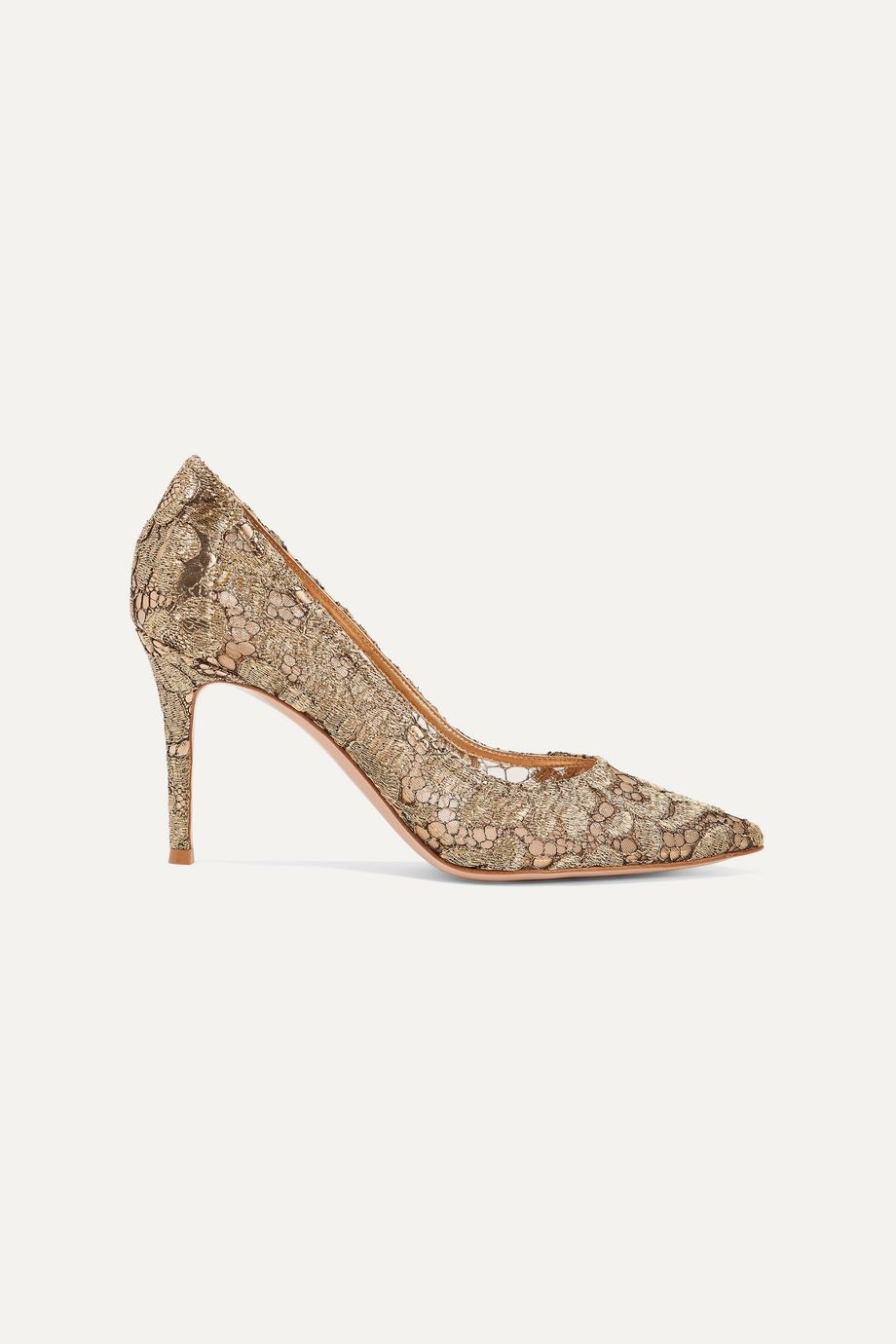 Gianvito Rossi 85 leather-trimmed metallic guipure lace and mesh pumps