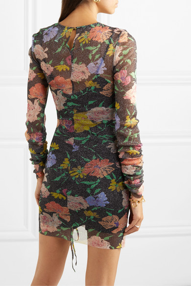 Cosmic Ruched Metallic Floral Print Mesh Dress by Alice Mc Call