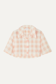 Pink Moon cropped gingham cotton-blend shirt