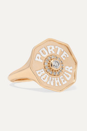 Marlo Laz Porte Bonheur 14-karat gold, enamel and diamond ring