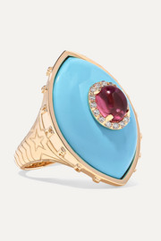 Marlo Laz Iris 14-karat rose gold multi-stone ring