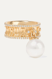 Marlo Laz Je Porte Bonheur 14-karat gold, diamond and pearl ring
