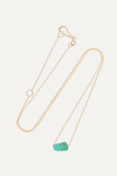 + Net Sustain 14 Karat Gold Turquoise Necklace by Melissa Joy Manning