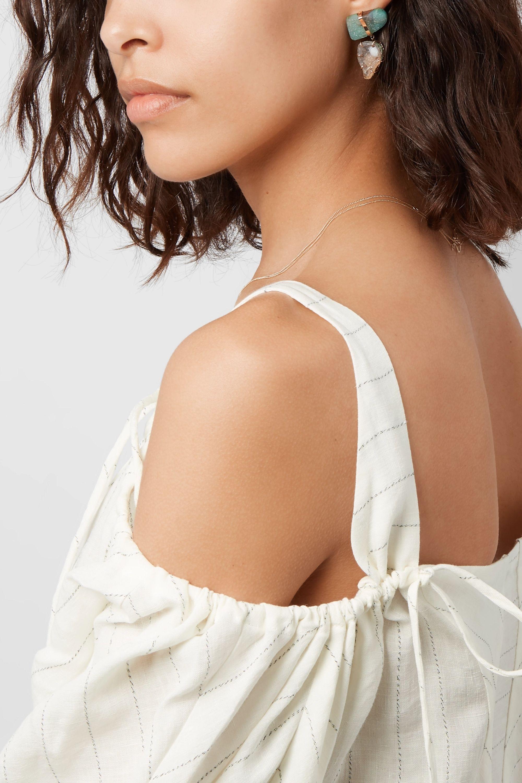 Melissa Joy Manning 14-karat gold occo agate druzy and chrysocolla earrings
