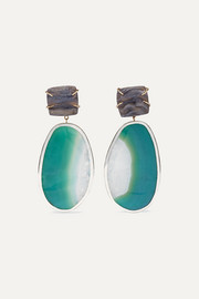 Melissa Joy Manning 14-karat gold and sterling silver shell druzy and agate earrings