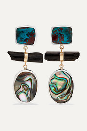 Melissa Joy Manning Sterling silver and 14-karat gold multi-stone earrings