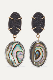 Melissa Joy Manning 14-karat gold, sterling silver, druzy and shell earrings