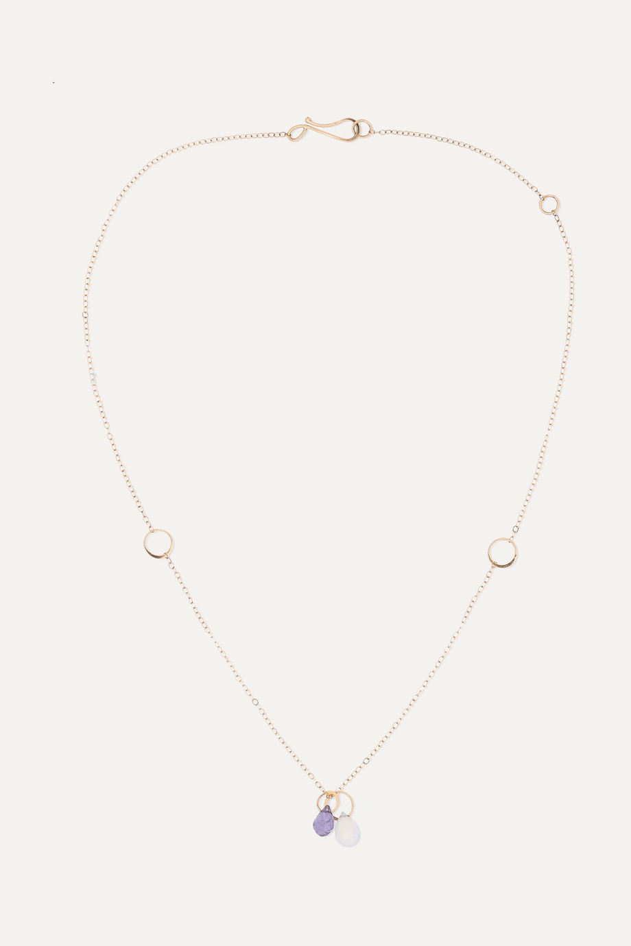 Melissa Joy Manning + NET SUSTAIN 14-karat gold, chalcedony and iolite necklace
