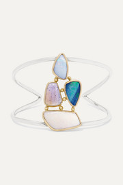 Melissa Joy Manning 14-karat gold, sterling silver and multi-stone cuff