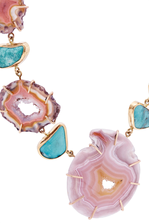 Melissa Joy Manning 14-karat gold, agate and turquoise necklace
