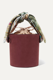 Montunas Isla printed satin-trimmed nubuck and linen tote