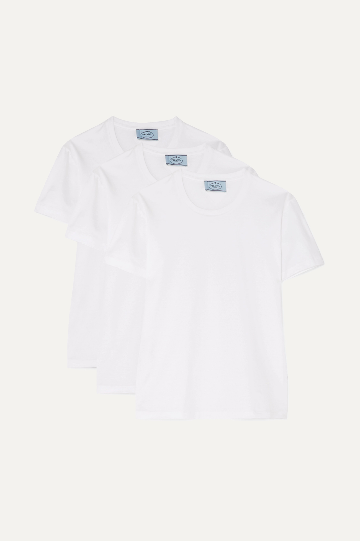 Prada Set of three cotton-jersey T-shirts