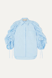Antonio Berardi Ruched cotton-poplin shirt