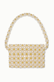 Reveries faux pearl and gold-tone beaded shoulder bag