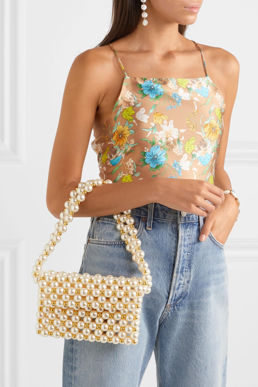 Vanina Reveries faux pearl and gold-tone beaded shoulder bag