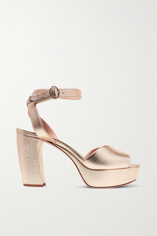 Gold Metallic leather platform sandals