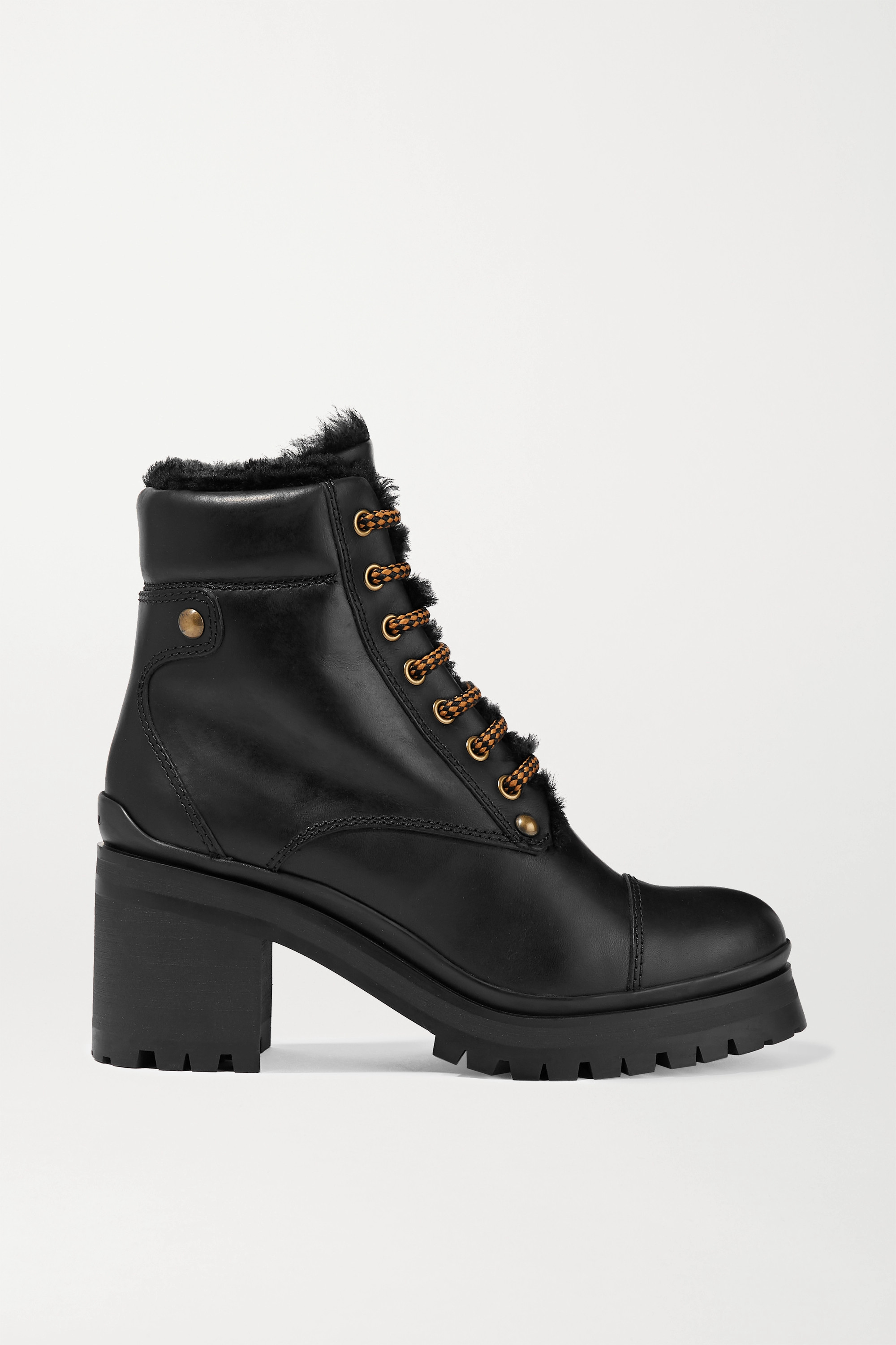 Miu Miu Shearling-lined leather ankle boots