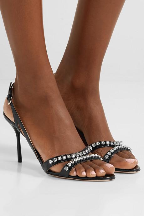 Crystal-embellished patent-leather slingback sandals