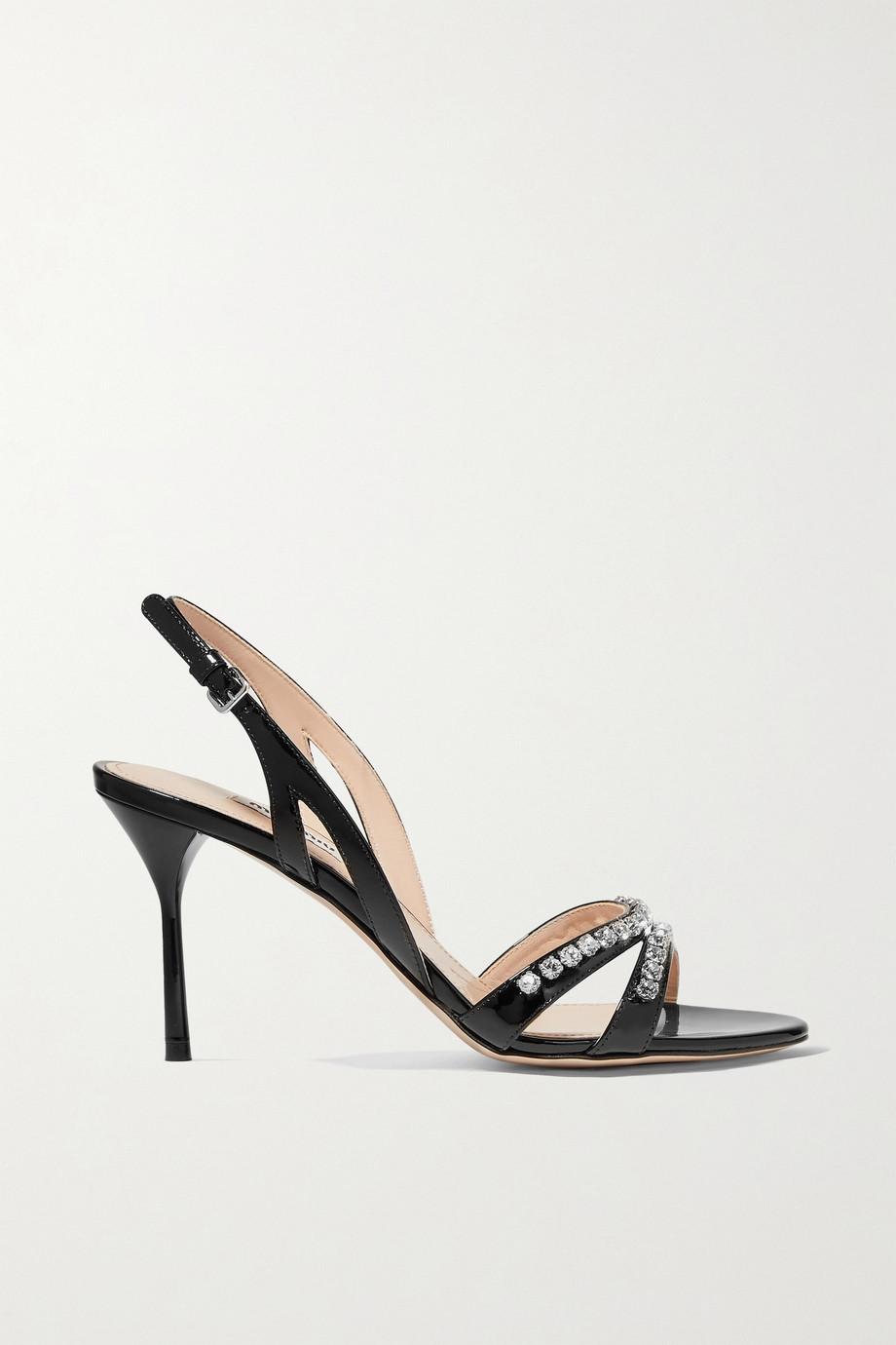 Miu Miu Slingback-Sandalen aus Lackleder mit Kristallen