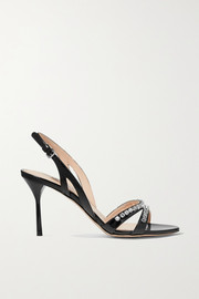 Miu Miu Crystal-embellished patent-leather slingback sandals